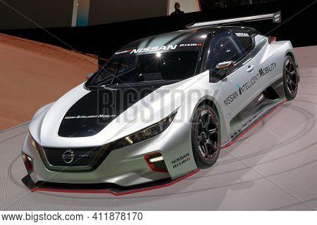 Geneva, Switzerland - March 6, 2019: Nissan Gt-r Nismo Gt3 Race Car Showcased At The 89th Geneva Int