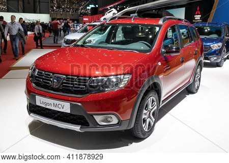 Geneva, Switzerland - March 6, 2019: Dacia Logan Mcv Car Showcased At The 89th Geneva International