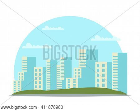 Vector Cityscape With High Skyscraper Building. City Landscape Panorama With Residential Apartment A