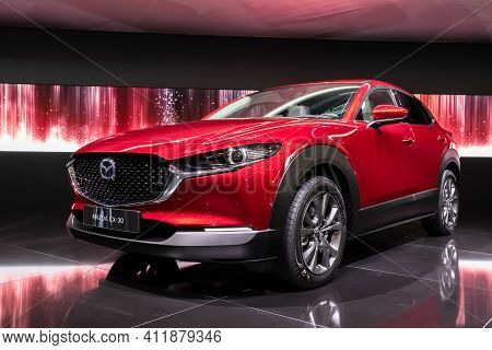 Geneva, Switzerland - March 6, 2019: New Mazda Cx-30 Crossover Car Debuts At The 89th Geneva Interna