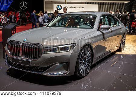 Geneva, Switzerland - March 6, 2019: Bmw 7 Series Car Showcased At The 89th Geneva International Mot