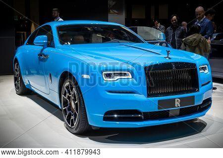 Geneva, Switzerland - March 6, 2019: Rolls Royce Wraith Coupe 6.6 Luxury Car Showcased At The 89th G