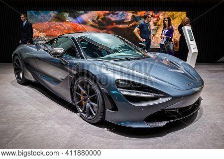 Mclaren 720s Spyder Sports Car At The 89th Geneva International Motor Show. Geneva, Switzerland - Ma