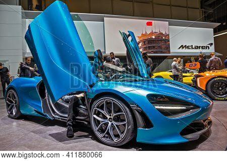 Geneva, Switzerland - March 6, 2019: New Mclaren 720s Sports Car Showcased At The 89th Geneva Intern
