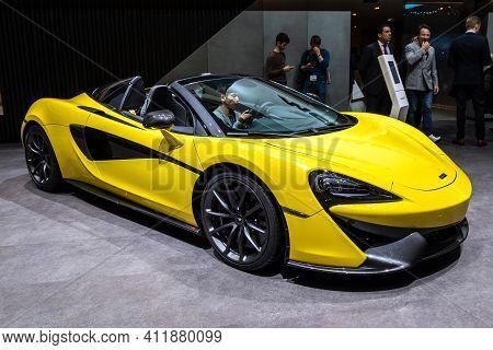 Geneva, Switzerland - March 6, 2019: Mclaren 570s Coupe Sports Car Showcased At The 89th Geneva Inte