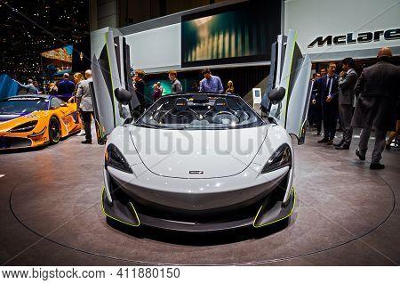 Mclaren 600lt Sports Car At The 89th Geneva International Motor Show. Geneva, Switzerland - March 6,