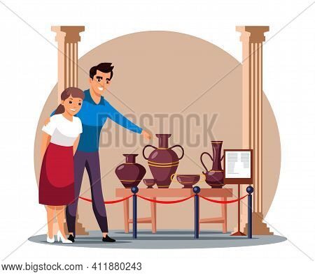 Happy Young Man And Woman Family Couple Visit Ancient Historic Museum. Wife Husband Enjoy Viewing An
