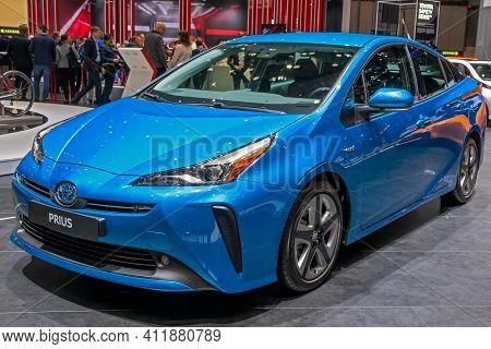 Toyota Prius At The 89th Geneva International Motor Show. Geneva, Switzerland - March 6, 2019.