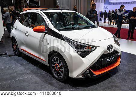 Geneva, Switzerland - March 6, 2019: Toyota Aygo X-play Car Presented At The 89th Geneva Internation
