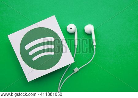 London, Uk - March 2021: Spotify Music And Audio Streaming Service Logo