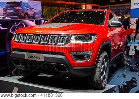 Jeep Compass Plug-in Hybrid Car At The 89th Geneva International Motor Show. Geneva, Switzerland - M