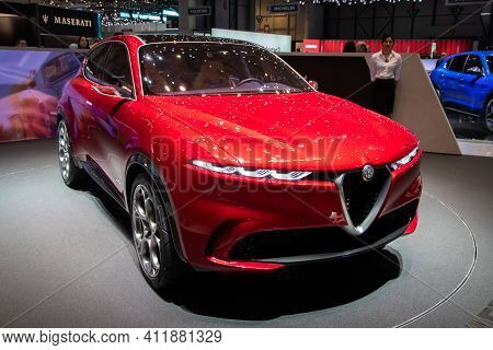 Geneva, Switzerland - March 6, 2019: New Alfa Romeo Tonale Suv Car Reveiled At The 89th Geneva Inter