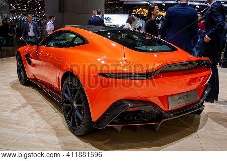 Aston Martin Vantage Q Sports Car At The 89th Geneva International Motor Show. Geneva, Switzerland -