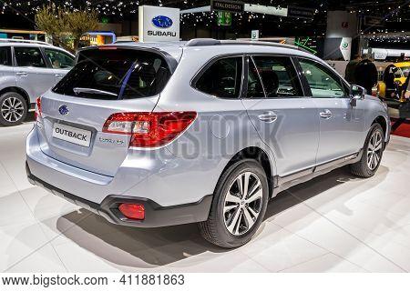 Subaru Outback Car At The 89th Geneva International Motor Show. Geneva, Switzerland - March 6, 2019.