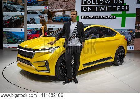 Skoda Vision Iv Concept Car At The 89th Geneva International Motor Show. Geneva, Switzerland - March