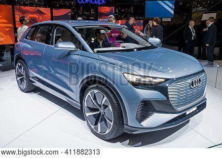 Audi Q4 E-tron Electric Suv Car At The 89th Geneva International Motor Show. Geneva, Switzerland - M