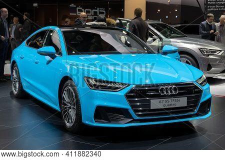 Geneva, Switzerland - March 6, 2019: Audi A7 Quattro Car Showcased At The 89th Geneva International