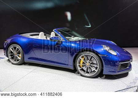 Geneva, Switzerland - March 6, 2019: Porsche 911 Carrera S Cabriolet Sports Car Debut At The 89th Ge