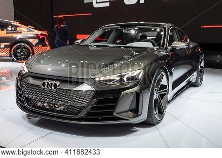 Geneva, Switzerland - March 6, 2019: Audi E-tron Gt Concept Car Showcased At The 89th Geneva Interna