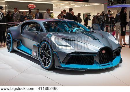 Geneva, Switzerland - March 6, 2019: Bugatti Divo Sports Car Showcased At The 89th Geneva Internatio