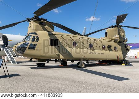 Le Bourget Paris - Jun 21, 2019: New Us Army Boeing Ch-47f Chinook Transport Helicopter On Display A