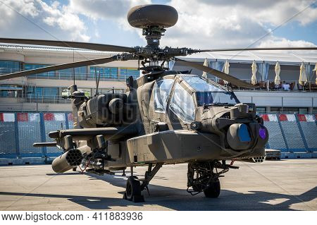 Le Bourget Paris - Jun 21, 2019: New Us Army Boeing Ah-64e Apache Guardian Attack Helicopter On Disp