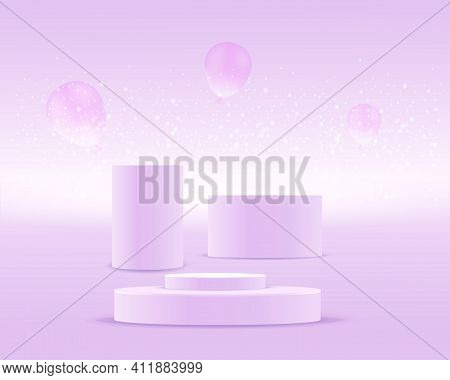 Cylinders Podiums, Realistic Scenes, Against A Purple Background With Balloons, And Glowing Particle