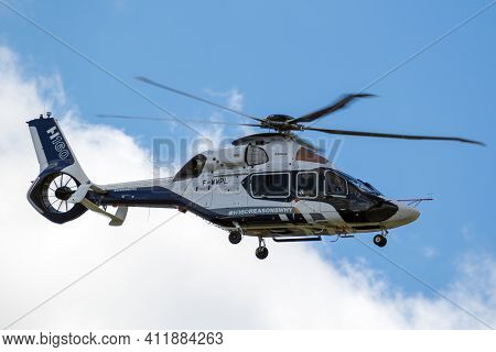 Le Bourget Paris - Jun 21, 2019: Airbus H160 Helicopter In Flight During The Paris Air Show.