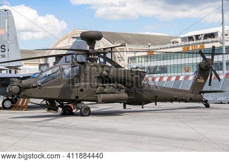 Le Bourget Paris - Jun 21, 2019: Newest Boeing Ah-64e Guardian Apache Attack Helicopter At The Paris