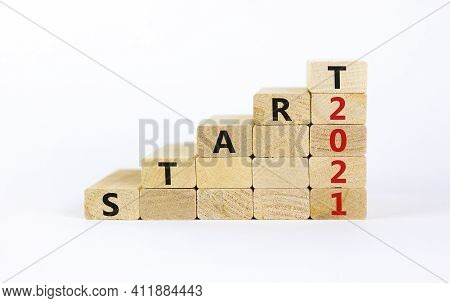 Business Concept Of 2021 New Year Start. Wooden Blocks With Words 'start 2021'. Beautiful White Back