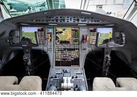Paris, France - Jun 21, 2019: Modern Glass Cockpit Of The Dassault Falcon 2000s Business Jet At The