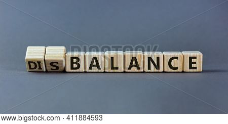 Balance Or Disbalance Symbol. Turned Cubes And Changed The Word Disbalance To Balance. Beautiful Gre