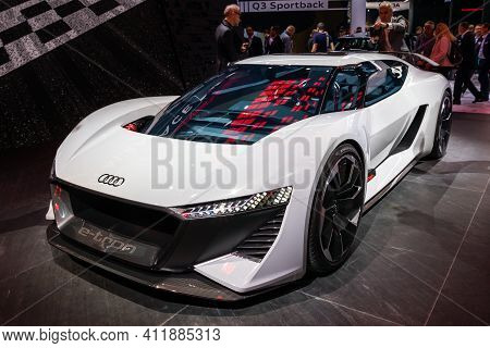 Frankfurt, Germany - Sep 10, 2019: Audi Pb 18 E-tron Electric Supercar Concept  Showcased At The Fra