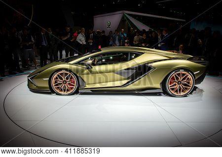 Frankfurt, Germany - Sep 10, 2019: Lamborghini Sian Fkp 37 Sports Car Unveiled At The Frankfurt Iaa