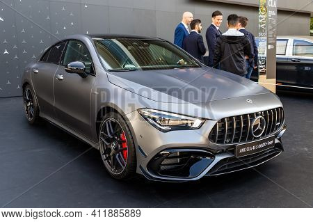 Frankfurt, Germany - Sep 10, 2019: New 2020 Mercedes Amg Cla 45 S 4matic+ Coupe Car Showcased At The