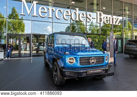 Frankfurt, Germany - Sep 10, 2019: Mercedes G 500 G Manufaktur Car Showcased At The Frankfurt Iaa Mo