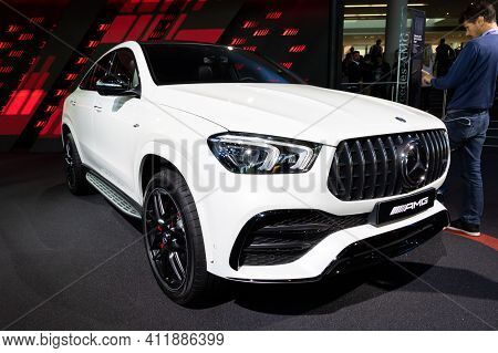 Frankfurt, Germany - Sep 10, 2019: New 2020 Mercedes Amg Gle 53 Coupe 4matic Car Showcased At The Fr
