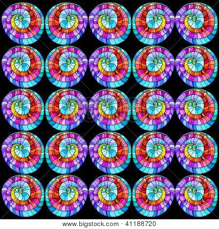 Seamless Graphic Pattern Colored Curls On Black Background.