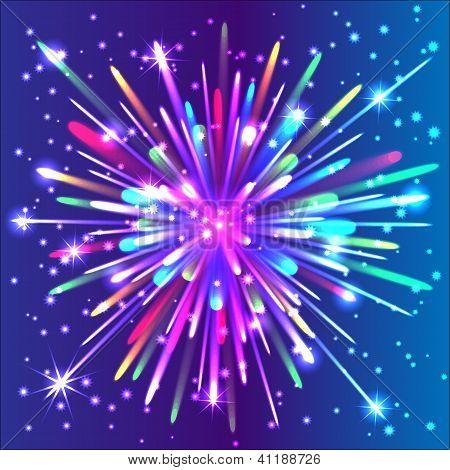 Beautiful isolated vector firework. Salute.