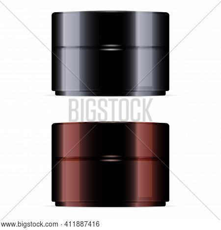 Brown Cream Jar. Black Cosmetic Jar Mockup, Scrub Container Isolated Blank. Beauty Face Cream Beauty