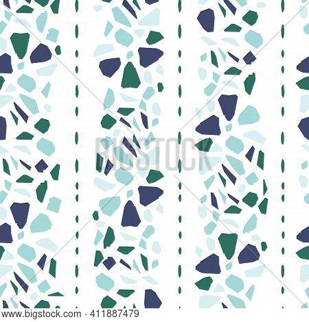 Striped Blue And Green Italian Terrazzo Seamless Pattern. Venetian Marble Flooring Texture Vector Ba