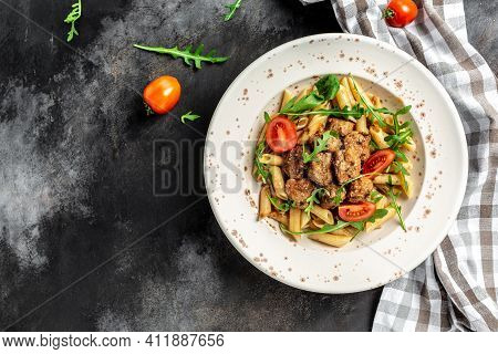 Meatball Penne Pasta With Spicy Tomato Sauce, Italian Pasta. Banner, Menu Recipe Place For Text, Top