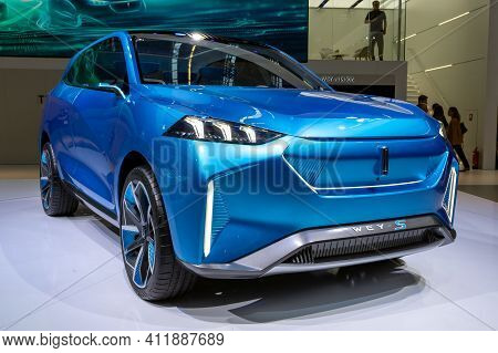 Frankfurt, Germany - Sep 10, 2019: Great Wall Motors Wey-s Electric Crossover Concept Car Showcased