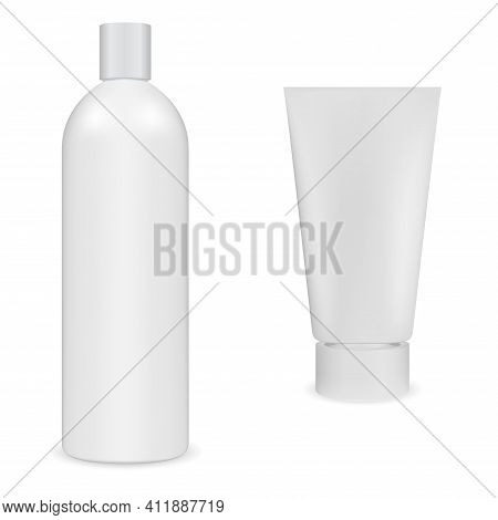 Shampoo Bottle, Hand Cream Tube, Cosmetic Package. White Plastic Container Blank. Body Skin Beauty P