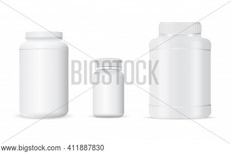 Pill Bottle, Sport Nutrition Jar Template, Protein Packaging Mockup. White Plastic Container For Whe