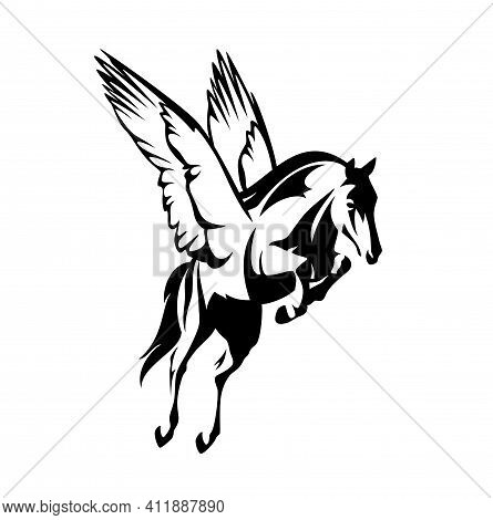 Pegasus Winged Horse - Greek Mythology Inspiration Symbol Animal Flying Forward Black And White Vect