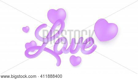 Love 3d Line Text. Vibrant Gradient Blended Fluid Love Word. Smooth 3d Line Text For Valentine Day.