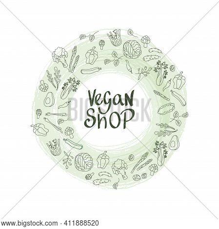Vegan Shop Sign With Outline Vegetables Frame For Price List. Handwritten Lettering Fresh Font For S
