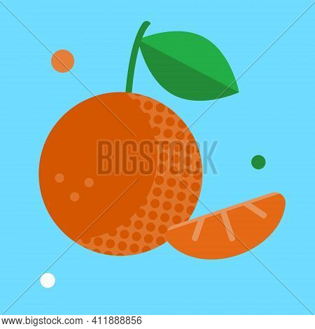 Vector Flat Illustration Of A Whole Tangerine With A Leaf And Its Slices. Isolated Vector Object On