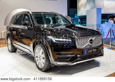 Frankfurt, Germany - Sep 11, 2019: New Volvo Xc90 Car Model Showcased At The Frankfurt Iaa Motor Sho